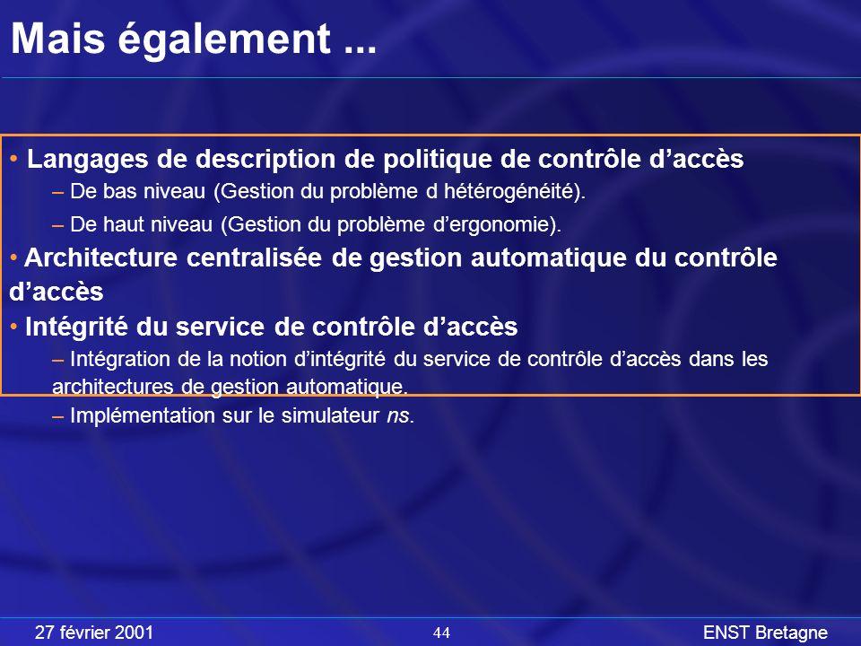 27 février 2001ENST Bretagne 44 Mais également...