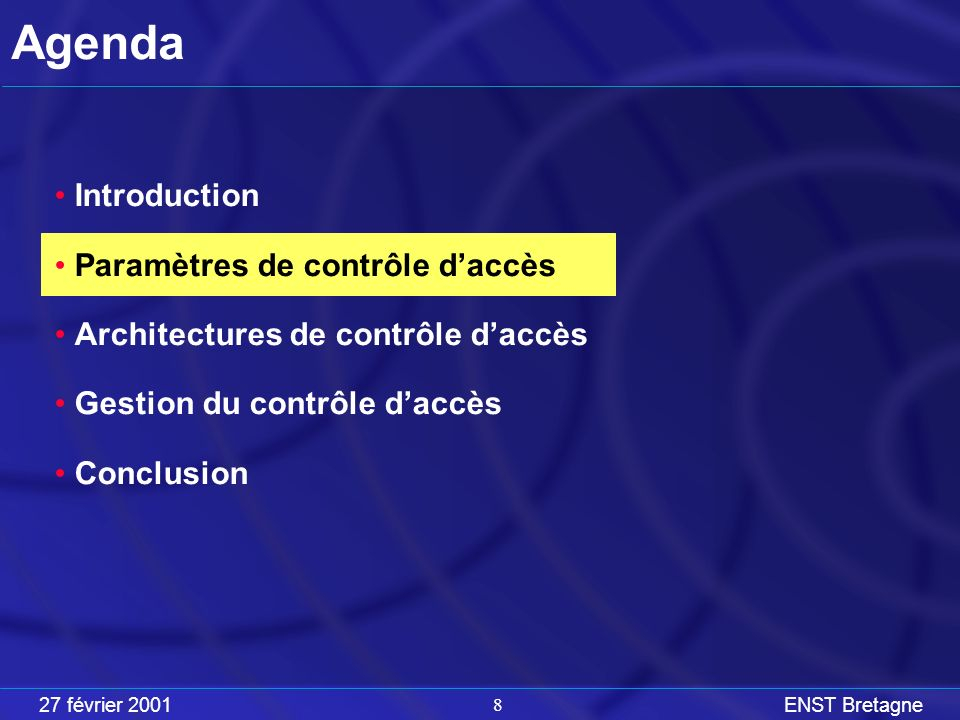 27 février 2001ENST Bretagne 8 Agenda Introduction Paramètres de contrôle daccès Architectures de contrôle daccès Gestion du contrôle daccès Conclusion