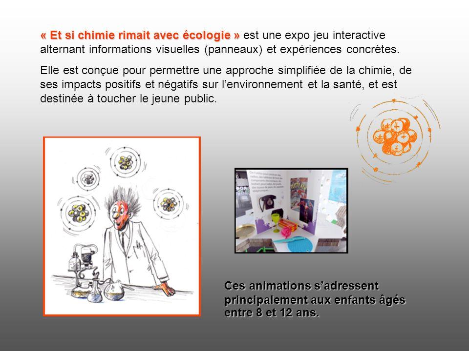 « Et si chimie rimait avec écologie » « Et si chimie rimait avec écologie » est une expo jeu interactive alternant informations visuelles (panneaux) et expériences concrètes.