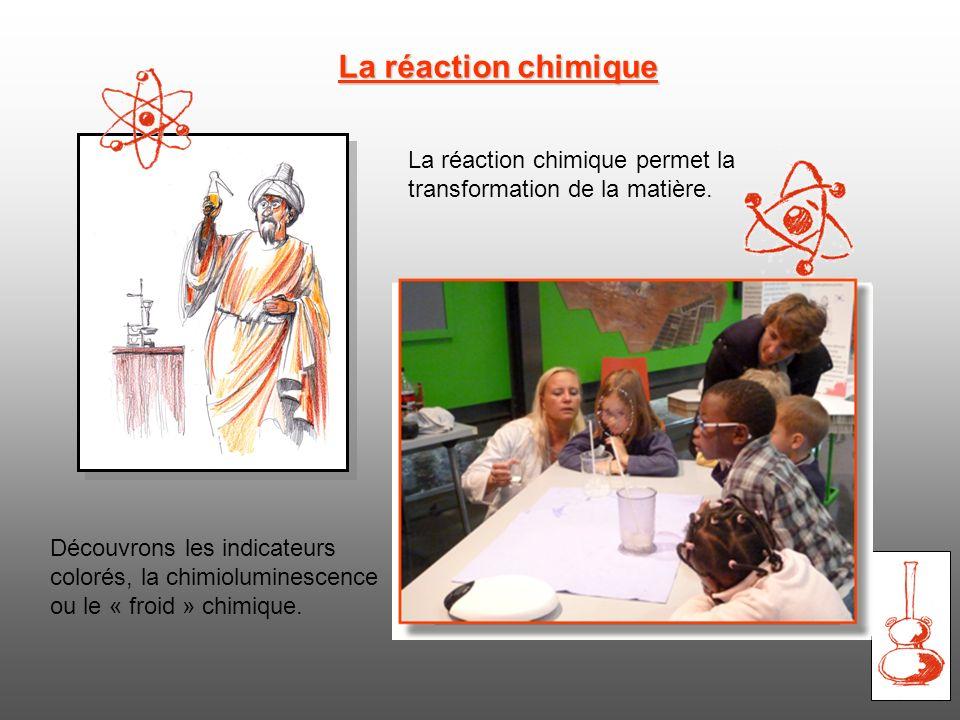 La réaction chimique La réaction chimique permet la transformation de la matière.