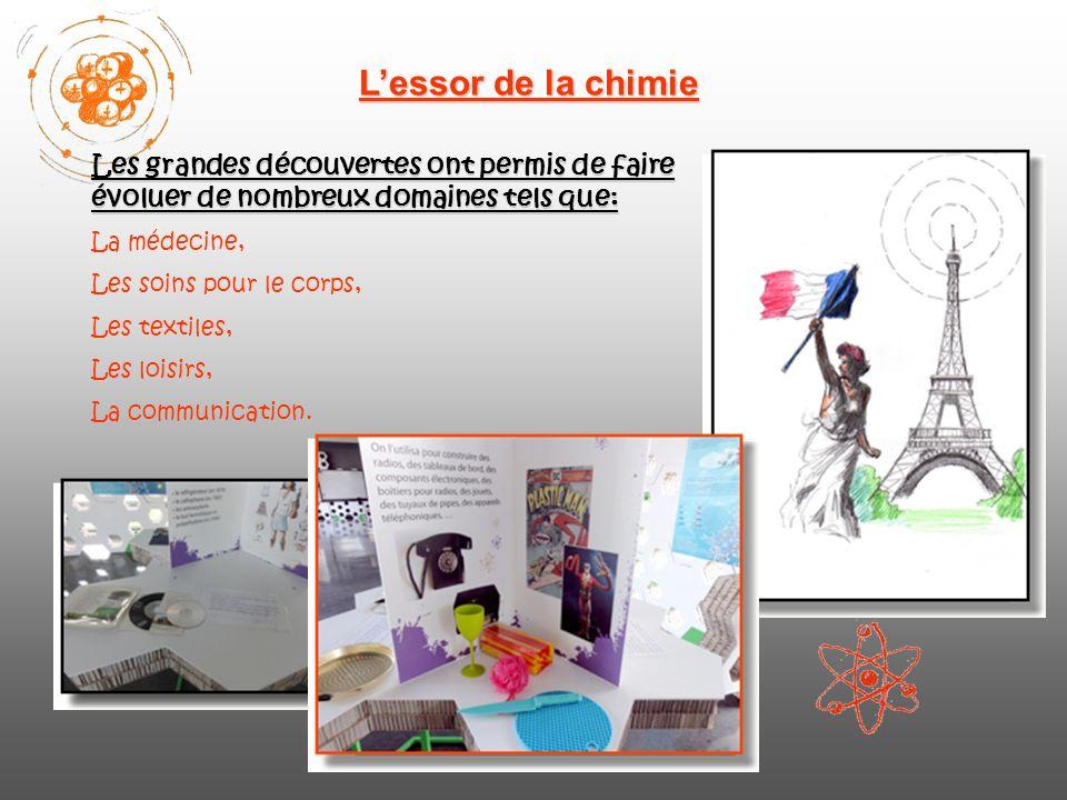 Lessor de la chimie Les grandes découvertes ont permis de faire évoluer de nombreux domaines tels que: La médecine, Les soins pour le corps, Les textiles, Les loisirs, La communication.