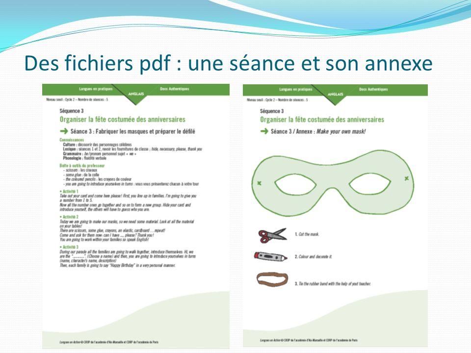 Des fichiers pdf : une séance et son annexe