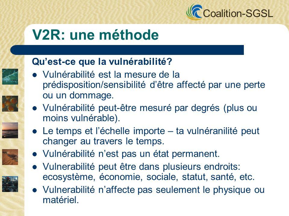 Coalition-SGSL V2R: une méthode Quest-ce que la vulnérabilité? Vulnérabilité est la mesure de la prédisposition/sensibilité dêtre affecté par une pert