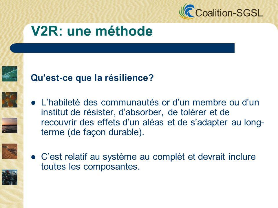 Coalition-SGSL V2R: une méthode Quest-ce que la résilience? Lhabileté des communautés or dun membre ou dun institut de résister, dabsorber, de tolérer