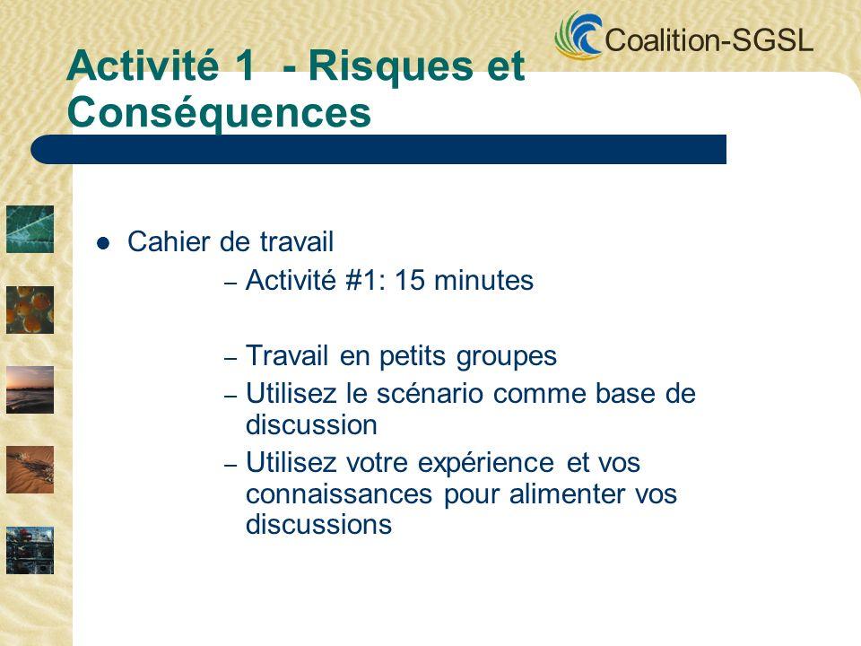 Coalition-SGSL Cahier de travail – Activité #1: 15 minutes – Travail en petits groupes – Utilisez le scénario comme base de discussion – Utilisez votr