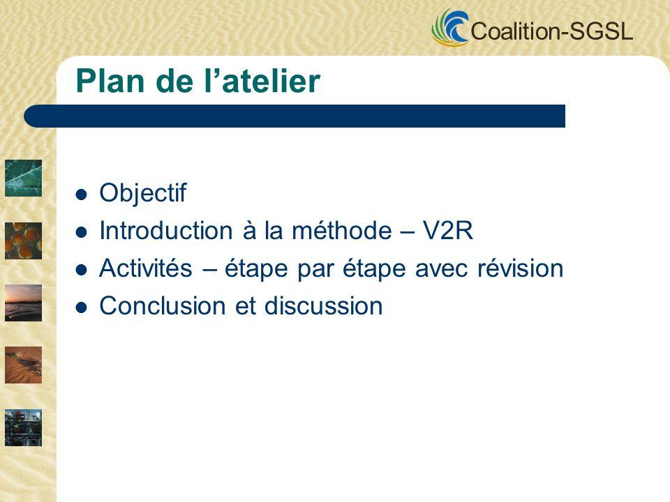 Coalition-SGSL Plan de latelier Objectif Introduction à la méthode – V2R Activités – étape par étape avec révision Conclusion et discussion