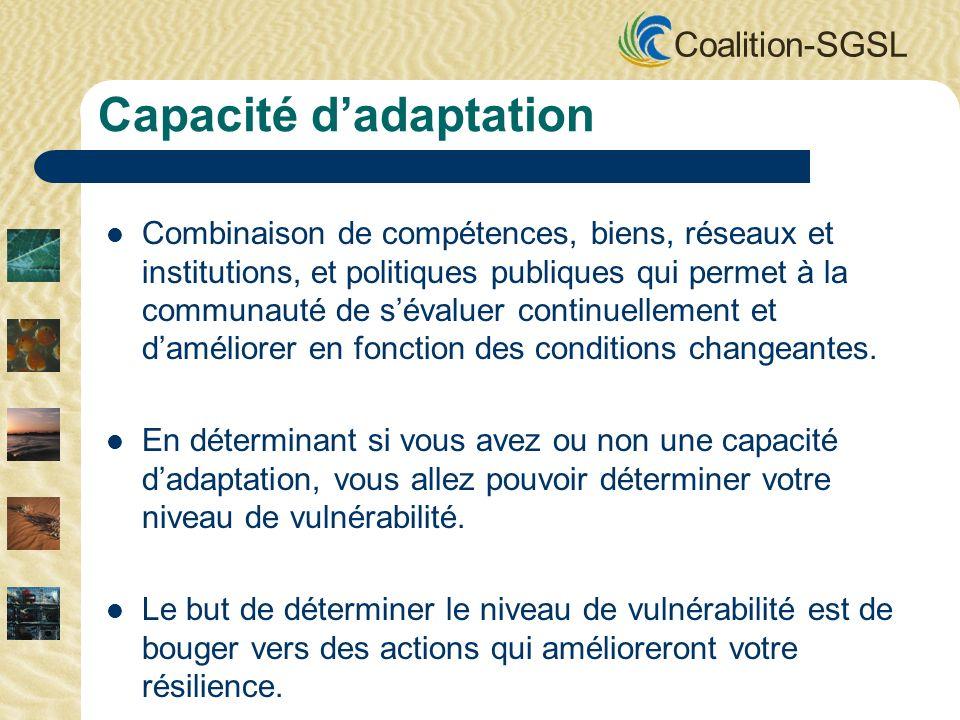 Coalition-SGSL Combinaison de compétences, biens, réseaux et institutions, et politiques publiques qui permet à la communauté de sévaluer continuellement et daméliorer en fonction des conditions changeantes.