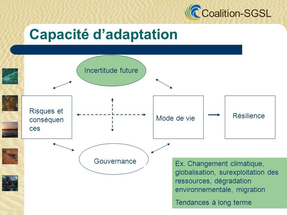 Coalition-SGSL Incertitude future Gouvernance Mode de vie Risques et conséquen ces Résilience Capacité dadaptation Ex. Changement climatique, globalis
