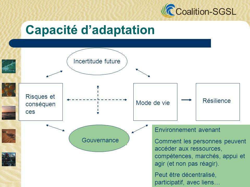 Coalition-SGSL Incertitude future Gouvernance Mode de vie Risques et conséquen ces Résilience Capacité dadaptation Environnement avenant Comment les personnes peuvent accéder aux ressources, compétences, marchés, appui et agir (et non pas réagir).