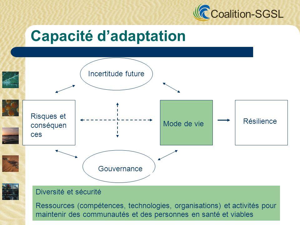 Coalition-SGSL Incertitude future Gouvernance Mode de vie Risques et conséquen ces Résilience Capacité dadaptation Diversité et sécurité Ressources (compétences, technologies, organisations) et activités pour maintenir des communautés et des personnes en santé et viables