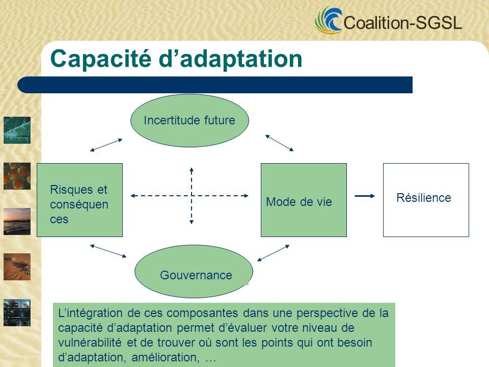 Coalition-SGSL Incertitude future Gouvernance Mode de vie Risques et conséquen ces Résilience Capacité dadaptation Lintégration de ces composantes dan