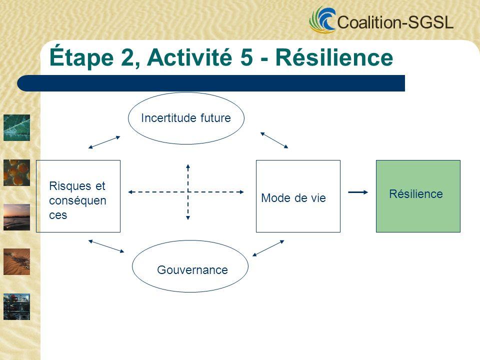 Coalition-SGSL Incertitude future Gouvernance Mode de vie Risques et conséquen ces Résilience Étape 2, Activité 5 - Résilience