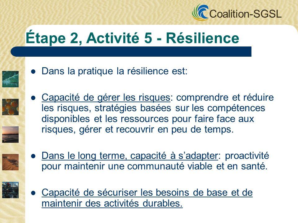 Coalition-SGSL Dans la pratique la résilience est: Capacité de gérer les risques: comprendre et réduire les risques, stratégies basées sur les compétences disponibles et les ressources pour faire face aux risques, gérer et recouvrir en peu de temps.
