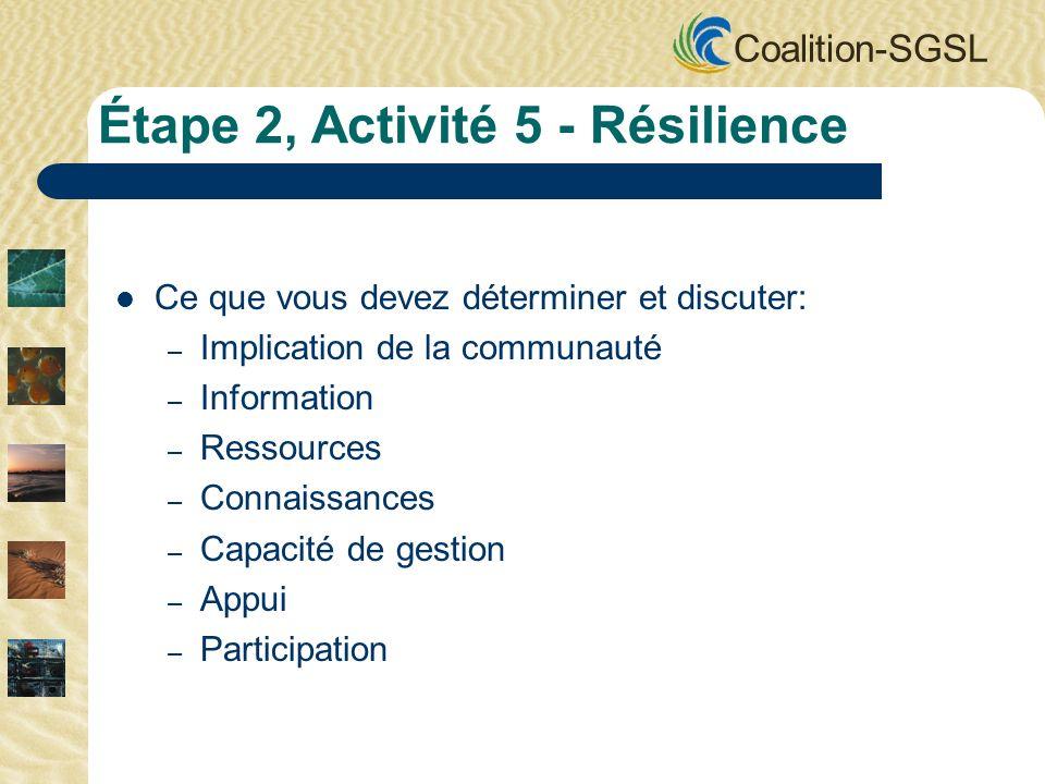Coalition-SGSL Ce que vous devez déterminer et discuter: – Implication de la communauté – Information – Ressources – Connaissances – Capacité de gesti
