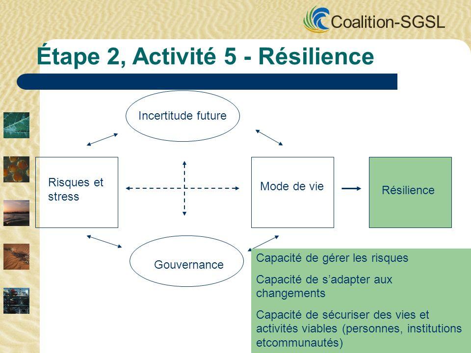 Coalition-SGSL Incertitude future Gouvernance Risques et stress Mode de vie Résilience Étape 2, Activité 5 - Résilience Capacité de gérer les risques Capacité de sadapter aux changements Capacité de sécuriser des vies et activités viables (personnes, institutions etcommunautés)