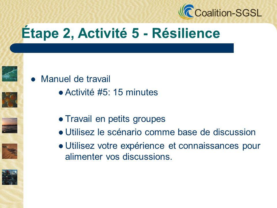 Coalition-SGSL Manuel de travail Activité #5: 15 minutes Travail en petits groupes Utilisez le scénario comme base de discussion Utilisez votre expérience et connaissances pour alimenter vos discussions.
