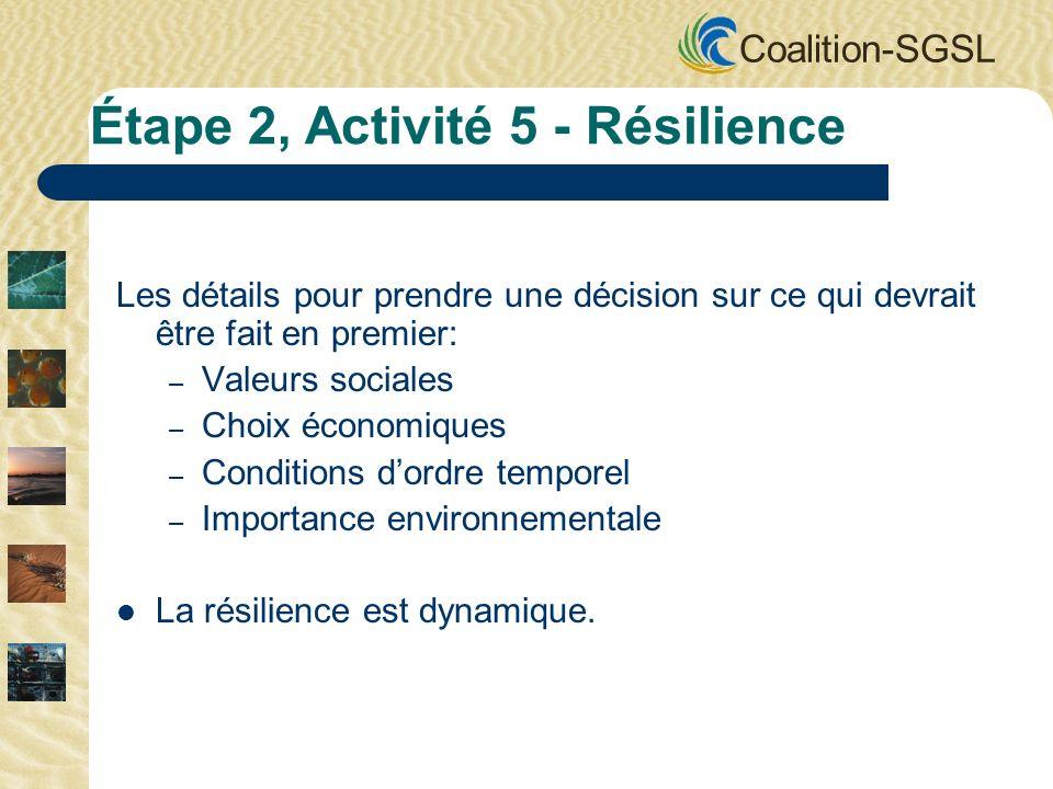 Coalition-SGSL Les détails pour prendre une décision sur ce qui devrait être fait en premier: – Valeurs sociales – Choix économiques – Conditions dord