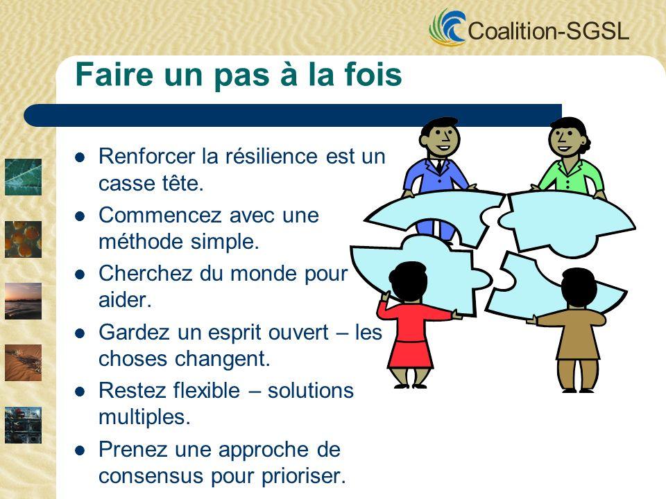 Coalition-SGSL Faire un pas à la fois Renforcer la résilience est un casse tête. Commencez avec une méthode simple. Cherchez du monde pour aider. Gard