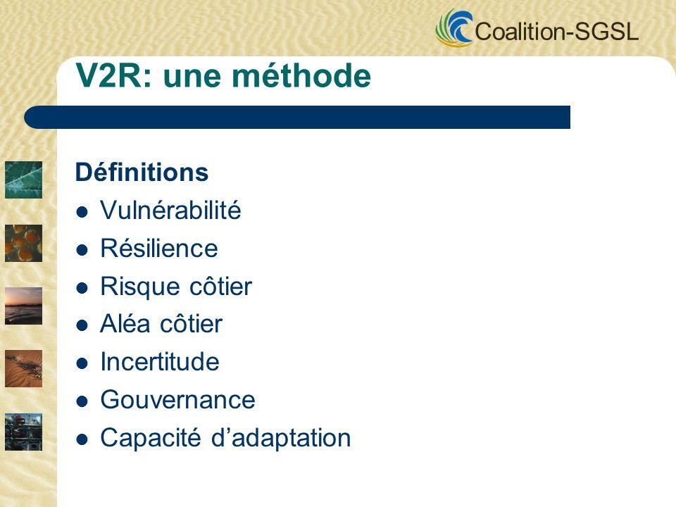 Coalition-SGSL Les détails pour prendre une décision sur ce qui devrait être fait en premier: – Valeurs sociales – Choix économiques – Conditions dordre temporel – Importance environnementale La résilience est dynamique.