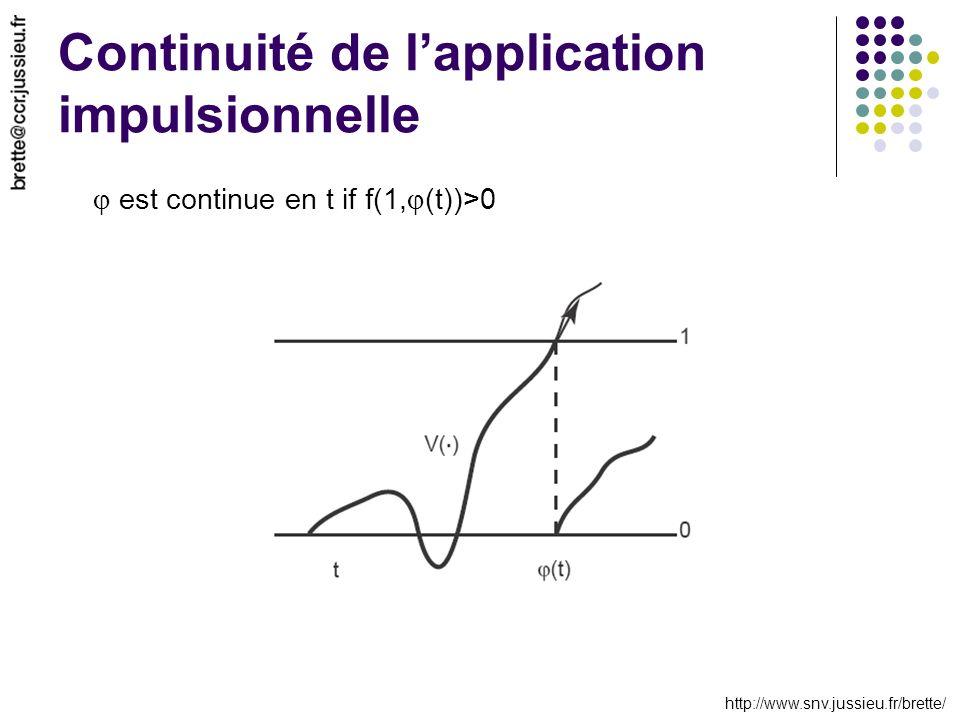 http://www.snv.jussieu.fr/brette/ Continuité de lapplication impulsionnelle est continue en t if f(1, (t))>0