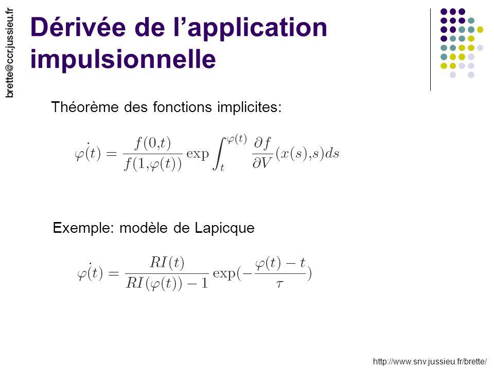 http://www.snv.jussieu.fr/brette/ Dérivée de lapplication impulsionnelle Théorème des fonctions implicites: Exemple: modèle de Lapicque