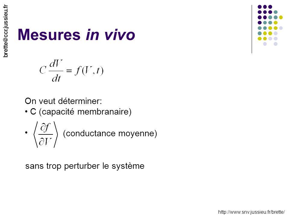 http://www.snv.jussieu.fr/brette/ Mesures in vivo On veut déterminer: C (capacité membranaire) (conductance moyenne) sans trop perturber le système