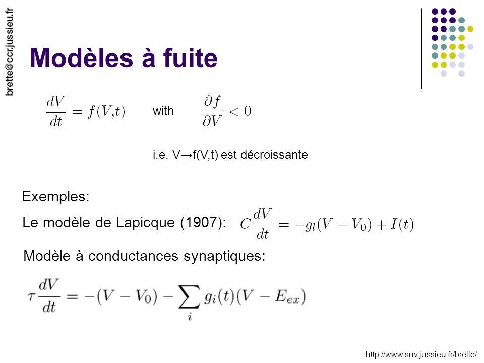http://www.snv.jussieu.fr/brette/ Modèles à fuite with i.e.