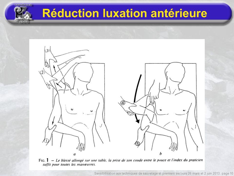 Sensibilisation aux techniques de sauvetage et premiers secours 26 mars et 2 juin 2013, page 10 Réduction luxation antérieure
