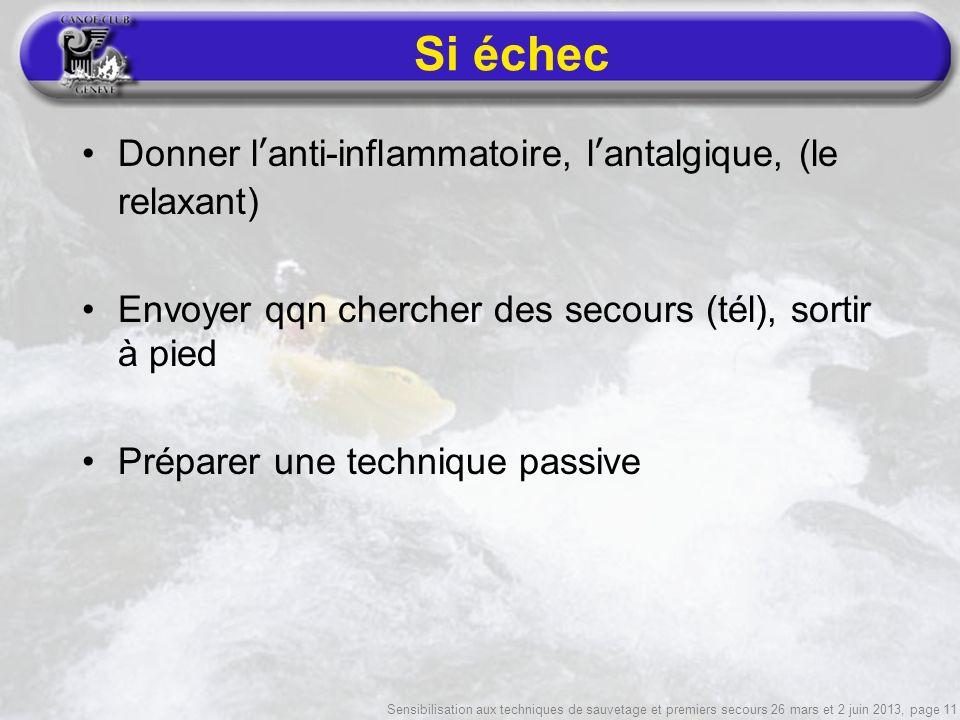 Sensibilisation aux techniques de sauvetage et premiers secours 26 mars et 2 juin 2013, page 11 Si échec Donner lanti-inflammatoire, lantalgique, (le