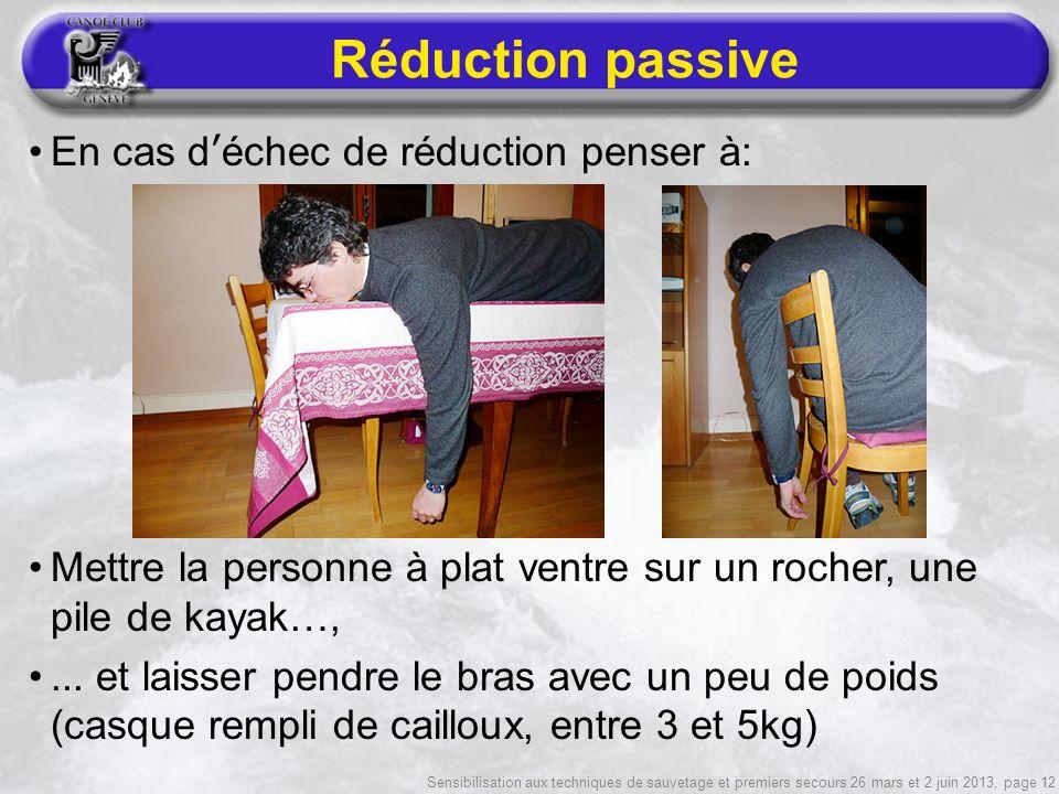 Sensibilisation aux techniques de sauvetage et premiers secours 26 mars et 2 juin 2013, page 12 Réduction passive Mettre la personne à plat ventre sur