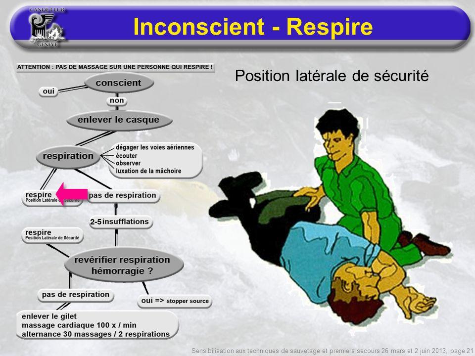 Sensibilisation aux techniques de sauvetage et premiers secours 26 mars et 2 juin 2013, page 21 Inconscient - Respire Position latérale de sécurité