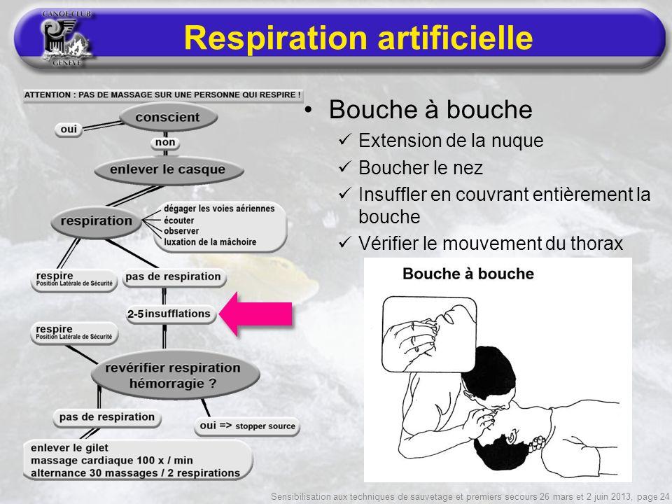 Sensibilisation aux techniques de sauvetage et premiers secours 26 mars et 2 juin 2013, page 24 Respiration artificielle Bouche à bouche Extension de