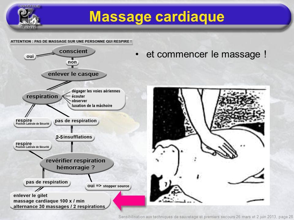 Sensibilisation aux techniques de sauvetage et premiers secours 26 mars et 2 juin 2013, page 28 Massage cardiaque et commencer le massage !