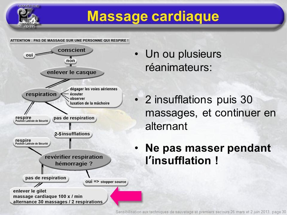 Sensibilisation aux techniques de sauvetage et premiers secours 26 mars et 2 juin 2013, page 30 Massage cardiaque Un ou plusieurs réanimateurs: 2 insufflations puis 30 massages, et continuer en alternant Ne pas masser pendant linsufflation !