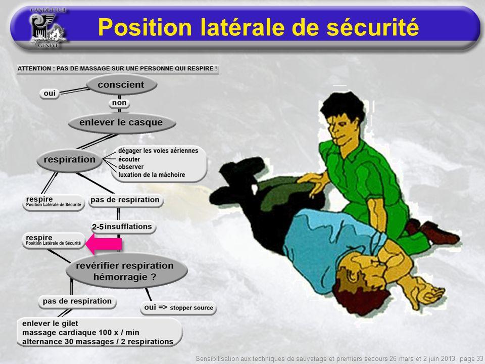 Sensibilisation aux techniques de sauvetage et premiers secours 26 mars et 2 juin 2013, page 33 Position latérale de sécurité
