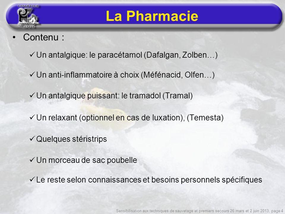 Sensibilisation aux techniques de sauvetage et premiers secours 26 mars et 2 juin 2013, page 4 La Pharmacie Contenu : Un antalgique: le paracétamol (D