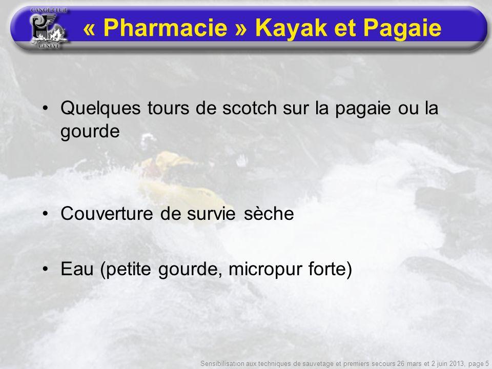 Sensibilisation aux techniques de sauvetage et premiers secours 26 mars et 2 juin 2013, page 5 « Pharmacie » Kayak et Pagaie Quelques tours de scotch