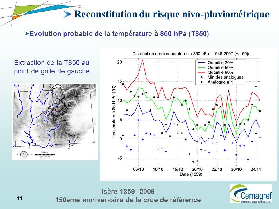 11 Isère 1859 -2009 150ème anniversaire de la crue de référence Reconstitution du risque nivo-pluviométrique Evolution probable de la température à 85
