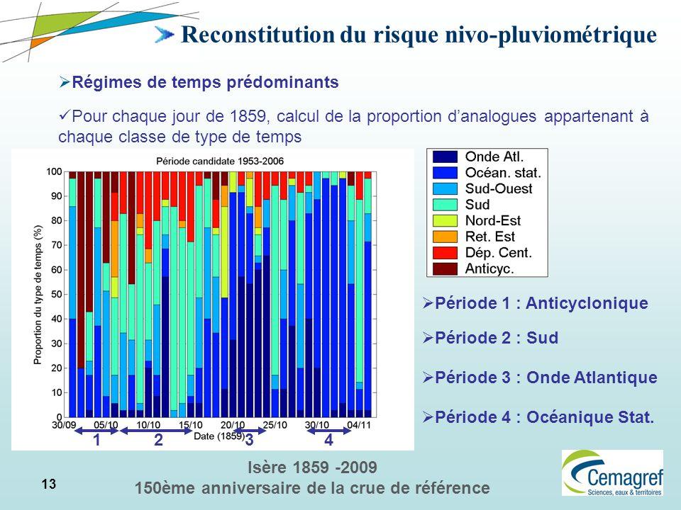 13 Isère 1859 -2009 150ème anniversaire de la crue de référence Reconstitution du risque nivo-pluviométrique Régimes de temps prédominants Pour chaque