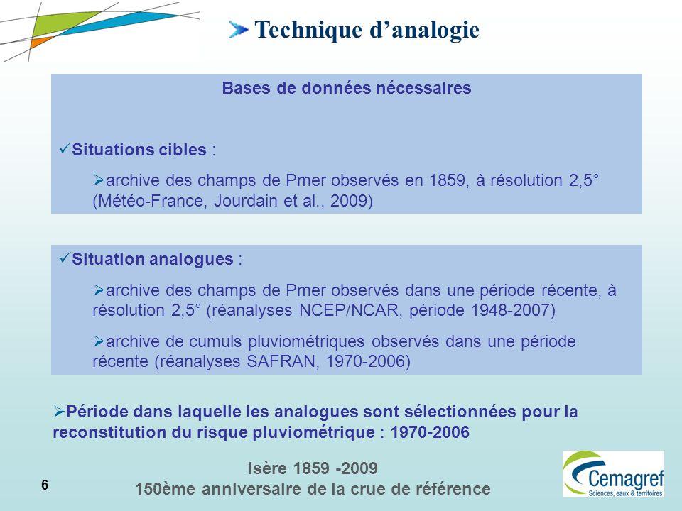 6 Isère 1859 -2009 150ème anniversaire de la crue de référence Technique danalogie Bases de données nécessaires Situations cibles : archive des champs