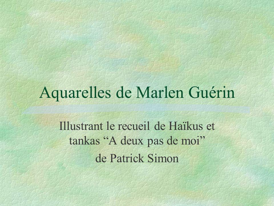 Aquarelles de Marlen Guérin Illustrant le recueil de Haïkus et tankas A deux pas de moi de Patrick Simon