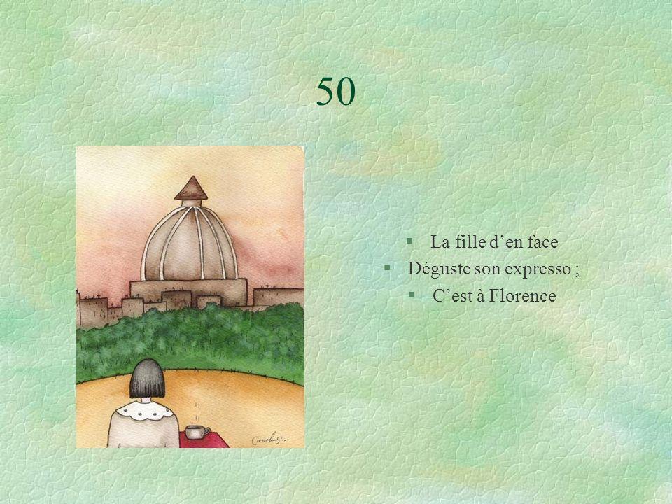 50 §La fille den face §Déguste son expresso ; §Cest à Florence