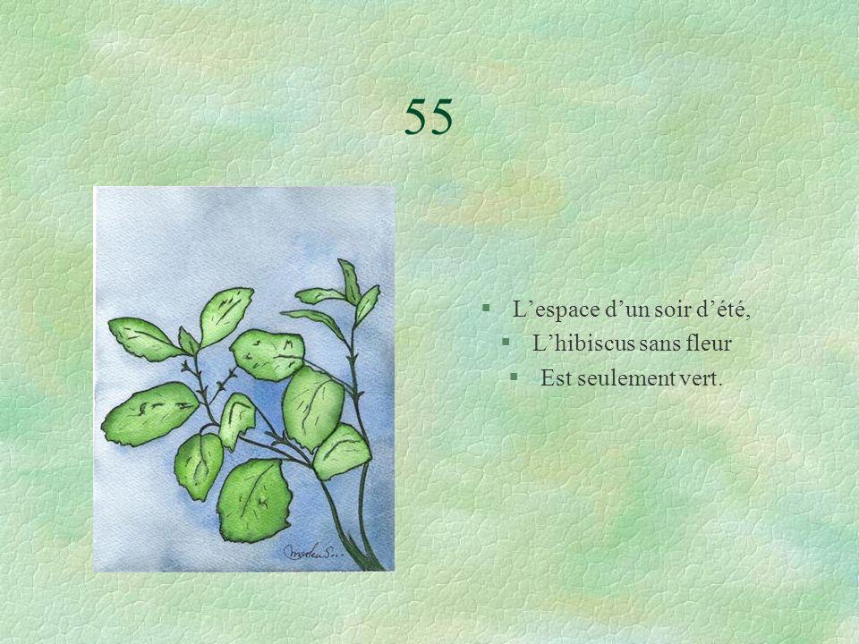 55 §Lespace dun soir dété, §Lhibiscus sans fleur §Est seulement vert.