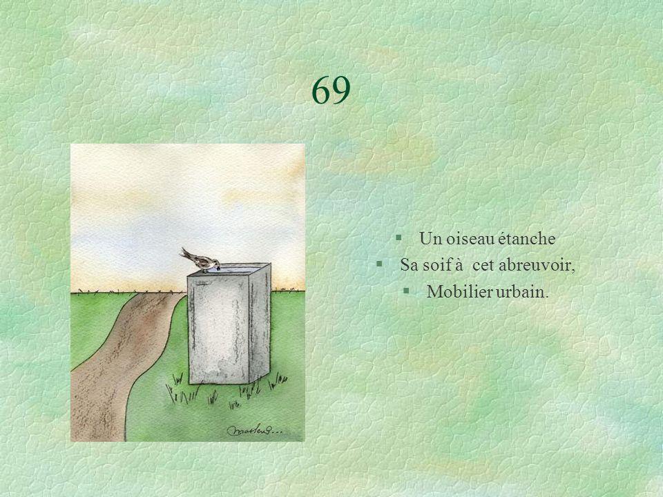 69 §Un oiseau étanche §Sa soif à cet abreuvoir, §Mobilier urbain.