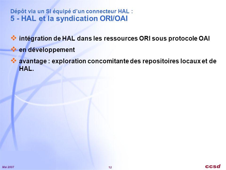 Mai 2007 12 Dépôt via un SI équipé dun connecteur HAL : 5 - HAL et la syndication ORI/OAI intégration de HAL dans les ressources ORI sous protocole OAI en développement avantage : exploration concomitante des repositoires locaux et de HAL.