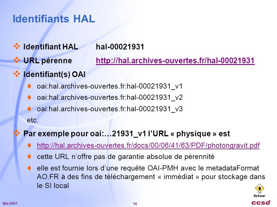 Mai 2007 18 Identifiants HAL Identifiant HALhal-00021931 URL pérennehttp://hal.archives-ouvertes.fr/hal-00021931http://hal.archives-ouvertes.fr/hal-00021931 Identifiant(s) OAI oai:hal.archives-ouvertes.fr:hal-00021931_v1 oai:hal.archives-ouvertes.fr:hal-00021931_v2 oai:hal.archives-ouvertes.fr:hal-00021931_v3 etc.