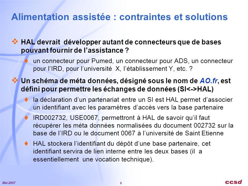 Mai 2007 6 Alimentation assistée : contraintes et solutions HAL devrait développer autant de connecteurs que de bases pouvant fournir de lassistance .