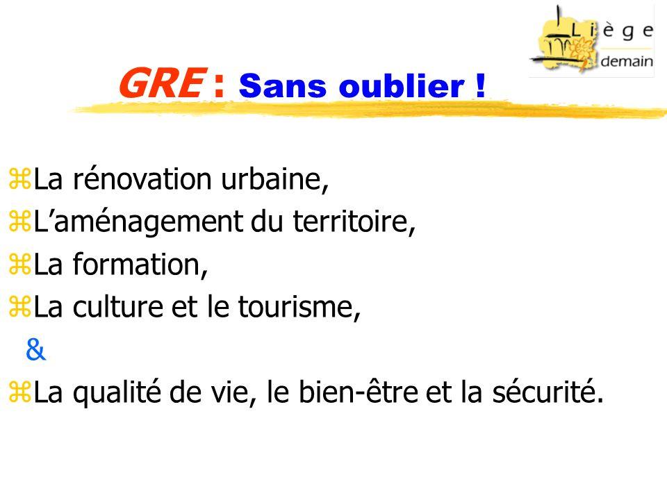 GRE : Sans oublier ! zLa rénovation urbaine, zLaménagement du territoire, zLa formation, zLa culture et le tourisme, & zLa qualité de vie, le bien-êtr