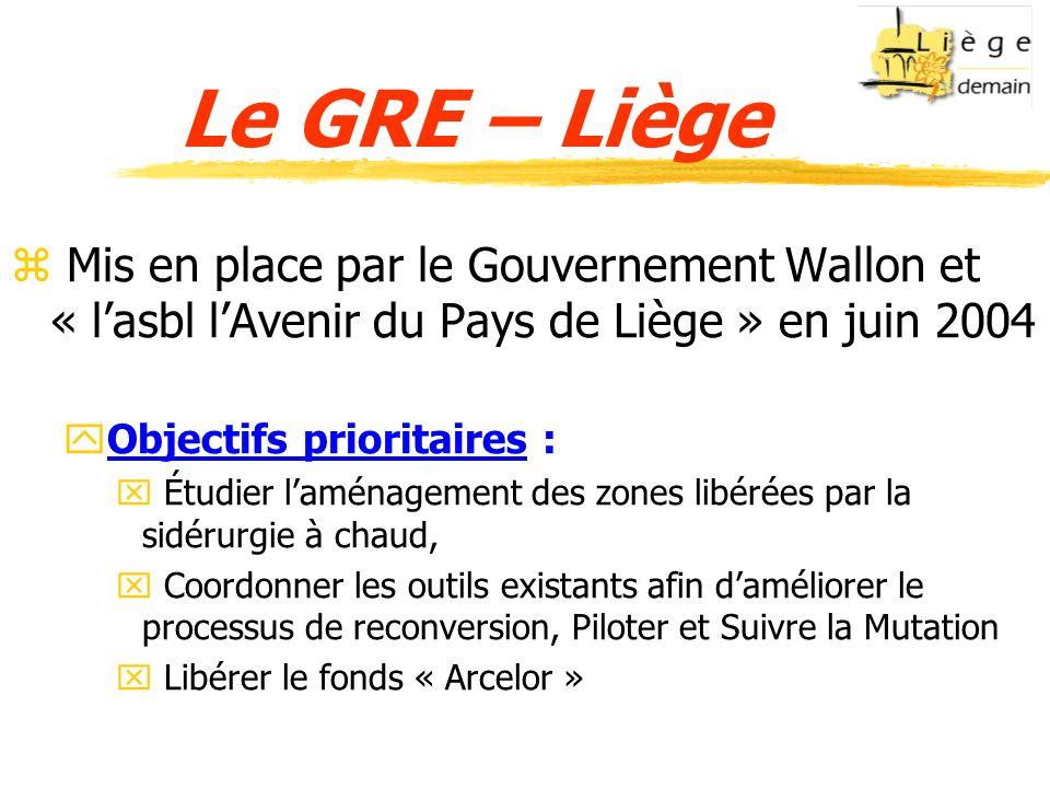 Le GRE – Liège z Mis en place par le Gouvernement Wallon et « lasbl lAvenir du Pays de Liège » en juin 2004 yObjectifs prioritaires : x Étudier laména
