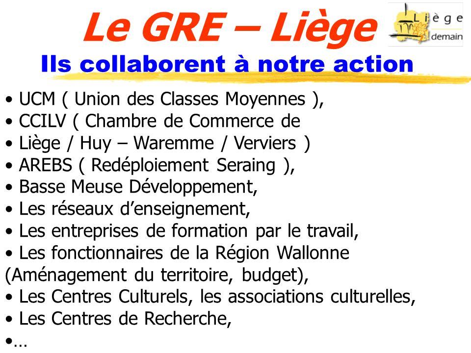 Le GRE – Liège Ils collaborent à notre action UCM ( Union des Classes Moyennes ), CCILV ( Chambre de Commerce de Liège / Huy – Waremme / Verviers ) AR